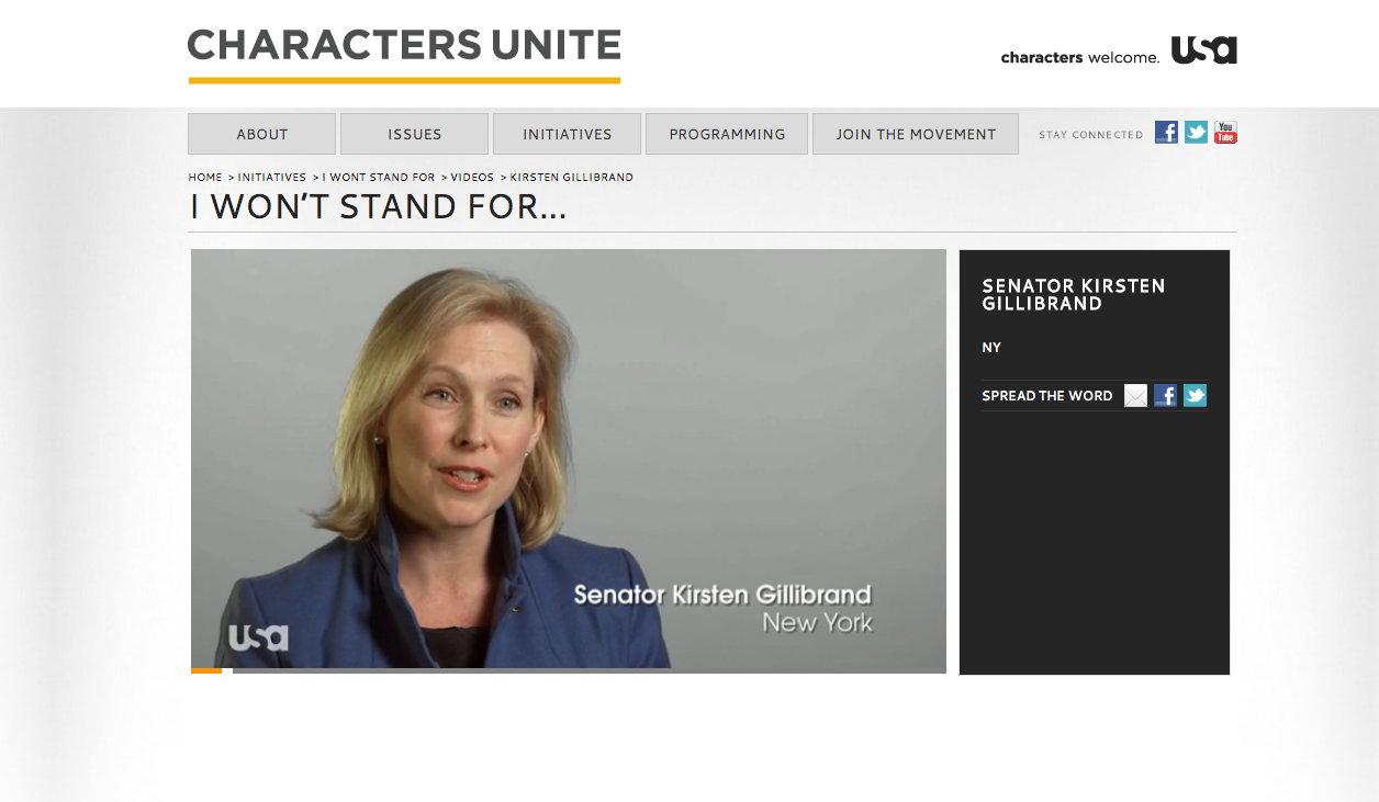 """I Won't Stand For..."" campaign featuring Senator  Kirsten Gillibrand"