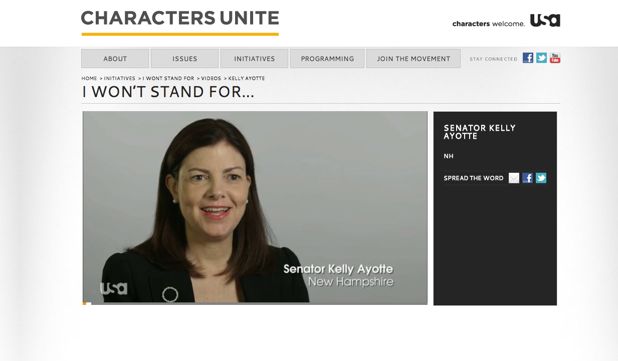 """I Won't Stand For..."" campaign featuring Senator  Kelly Ayotte"